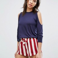 Chelsea Peers Cold Shoulder Stripe Short Pajama Set at asos.com