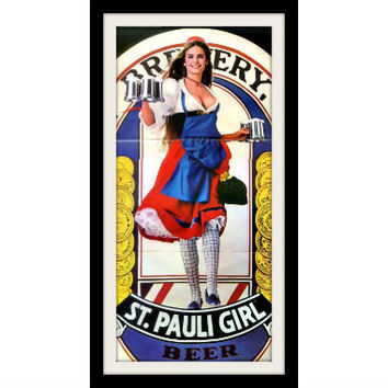 1980 St. Pauli Beer Pin Up Girl Poster Ad, Vintage Advertisement Print