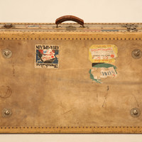 Vintage French Suitcase with Travel Patches