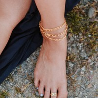 Golden Anklet + Toe Ring Set