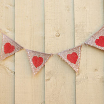 Red heart burlap banner bunting for Valentine's day Photo prop, Newborn prop,Christmas,