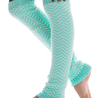 Chevron Leg Warmers, Mint