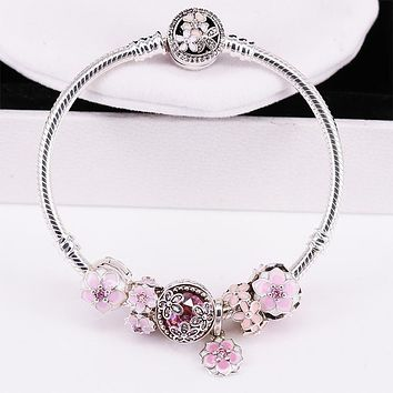 Fit Original Pandora Charms Bracelet Authentic 925 Sterling Silver Magnolia Bloom Charm Beads Pink enamel flowers Jewelry Gift
