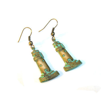 Nautical Mint Verdigris Green Brass Lighthouse by SovereignSea