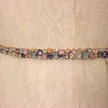 Pastel Blush Pink, Lavender Purple, and Ivory Skinny Scattered Crystal and Cloudy Opal Satin Ribbon Jewel Embellished Beaded Bridal Sash