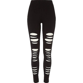 Black ripped high waisted leggings - leggings - pants - women