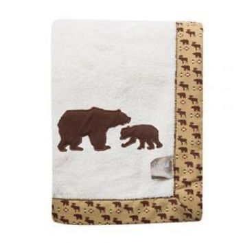 Northwoods Bear Framed Coral Fleece Baby Blanket
