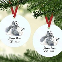 Christmas Ornament - Mama Bear Est. 2017 - Baby Shower Present