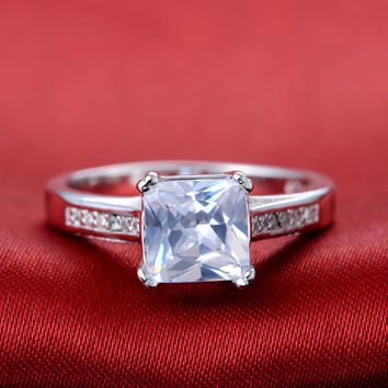Square Simulate Diamond jewelry white gold filled Ring Engagement Bague vintage bijoux for women bijoux Christmas gifts XKR079