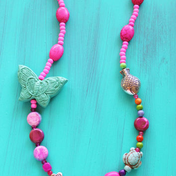 Girl's butterfly necklace with assorted beads and Tibetan silver