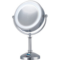 E-Ware Large 24 LED Lighted Touch Control Makeup Mirror with Clock | Wayfair