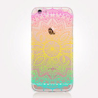 Transparent Rainbow Mandala iPhone Case - Transparent Case - Clear Case - Transparent iPhone 6 - Transparent iPhone 5 - Transparent iPhone 4