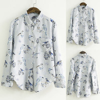 Vintage Bird Printing Breast Pocket Button Down Shirt
