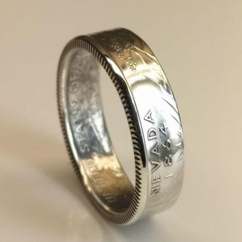 Silver State Quarter Coin Ring - Handcrafted Jewelry
