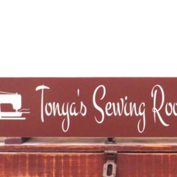 Sewing room sign - custom sewing machine sign - name sign - distressed wood signs - rustic decor signs - wall hanging sign