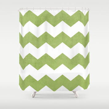chevron - green Shower Curtain by her art