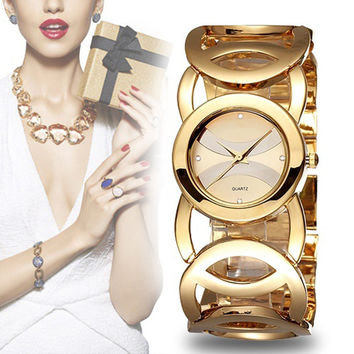 TOP brand Luxury Gold Watches Women Quartz Wristwatches Ladies Full Steel Bracelet Watch Feminino Relojes Circles Strap