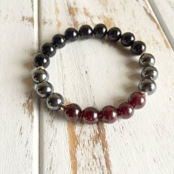 Genuine Black Onyx, Hematite & Garnet Bracelet w/ Sterling Silver Accents - Grounding and Protection