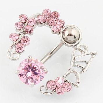 Zircon Flower navel bar belly ring body piercing jewelry Retail belly button ring 14G 316L surgical steel Nickel-free TAIERS