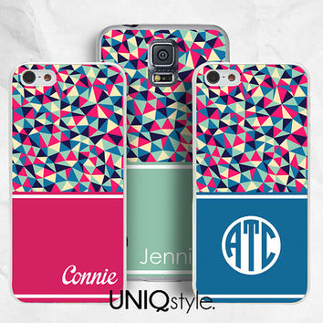 Personalized Monogram name initial phone case for iPhone 4/4s, 5/5s, 5c, Samsung s5, s4, s3, note2, note3 - colorful geometric pattern - L42