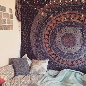 Shopnelo Home Special Popular Handicrafts Hippie Mandala Bohemian Psychedelic Intricate Floral Design Indian Bedspread Magical Thinking Tapestry  Blue