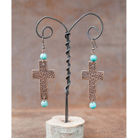 West and Co. Women's Hammered Copper Cross and Turqoise Bead Earring