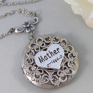 Mother's Locket,Locket,Silver Locket, Mom,Mother, Necklace,Antique Locket,Lace,Necklace. Handmade Jewelry by valleygirldesigns