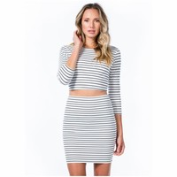 Stripe A Match Top And Skirt Set WHITE GoJane.com