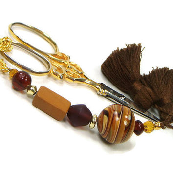Scissor Fob Beaded Needlepoint Cross Stitch Quilting Sewing Gift for Crafter Jupiter Brown DIY Crafts
