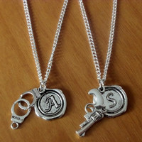 2 partners in crime, handcuff and pistols Necklaces with initial name charm, BFF, Sisters, couples, boyfriend girlfriend gift Valentine Gift