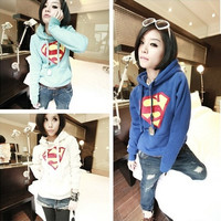 New 2015 plus size Lovely Superman hooded fleece spring and autumn Warm pure color long-sleeved cotton fleece fruit color Women's outdoor sports sweater shirt summer casual pajamas Lovely couple clothes in 2014 winter WEIYI01 = 1946824580