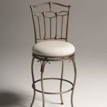 Brushed Bronze 30 inch Metal Bar Stool with Ivory Linen Fabric Swivel Seat