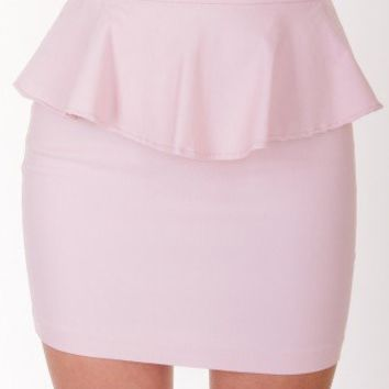 LIGHT-PINK FEMININE PEPLUM SKIRT @ KiwiLook fashion