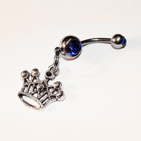 Crown Belly Button Ring, Princess Navel Ring, Body Jewelry, Belly Piercing