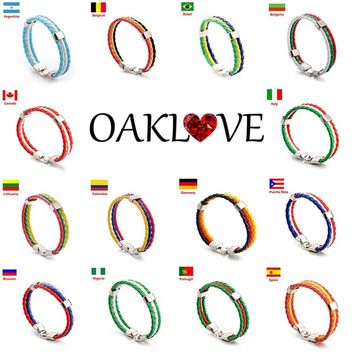 Unisex National Flags Colorful Braided Bracelet Football Fans PU Leather Bracelets & Bangles