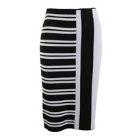 Theory Womens Colorblock Below Knee Knit Skirt