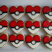 I Choose YOU!  Pokémon Heart Cookies - One Dozen Decorated Valentine's Day Treats / Party Favors