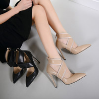 Simple Fashion Crisscross Hollow Shallow Mouth Pointed Top Heels Shoes Women Boots Shoes