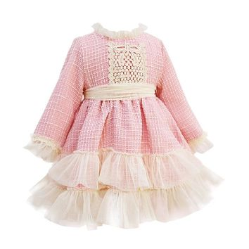 Autumn Winter Spanish Kids Dresses for Girls Patchwork Baby Dress With Bow Hat Long Sleeve Robe Fille Christmas Party Dress Pink