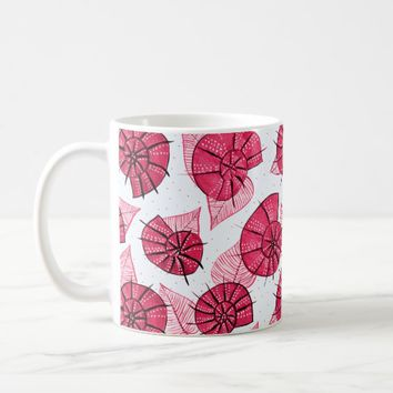 Pink Snails And Leaves Nature Lover Pattern Coffee Mug