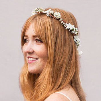 Delicate Wildflower Crown - Ivory Flower Crown, Bridal Headpiece, Bridal Flower Crown, Wedding Crown, Floral Crown, Woodland, Hair Wreath