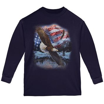 4th Of July American Flag Bald Eagle Youth Long Sleeve T Shirt