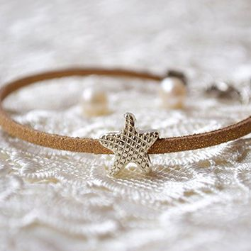 Starfish pandora charm bracelet brown leather