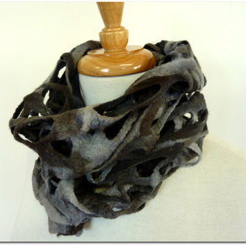 Mens Wool Scarf. Felted Merino Wool Scarf. Gray Woven Scarves. Australia