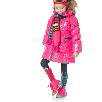 Deux Par Deux Fluffy Puffy Girls Long Coat Fuchsia With Fur Trim Size 3 to 12 Years