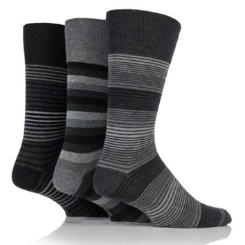 Non Binding Socks for Men or Women in Monochrome Stripes
