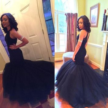 Sexy Charming Mermaid Prom Dresses Dark Halter Beaded Sequin Prom Gowns Organza Long Sleeveless Party Dress Hot Sale Custom Made