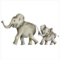 Mother and Baby Elephant Nursery Art Print
