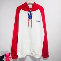 Champion Print Hooded Pullover Tops Sweater Sweatshirts