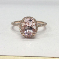 Morganite Diamond Ring in 14K Rose Gold!7x9mm Oval Cut Morganite Halo Diamond Engagement Ring,Claw Prongs,Wedding Bridal Ring,Fashion Fine
